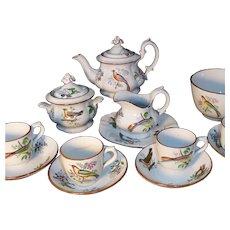 Childs Flow Blue Polychrome Tea Set BIRDS ~ ORNITHOLOGY  Minton Staffordshire England c 1850