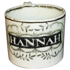 Pearlware Staffordshire Childs Christening Cup name HANNAH c1820