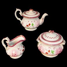 Hand Decorated Pink Lustre Blossoms  Childs Tea Set  Davenport Staffordshire England c1850
