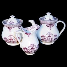 Staffordshire Childs Purple Transferware Tea Set  VIENNIA Adderly 1870