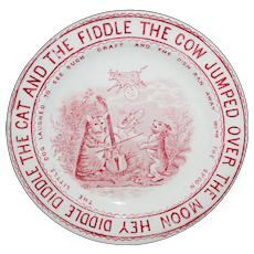 Child's Red Transferware Plate CAT FIDDLE COW MOON Whittaker & Co 1888