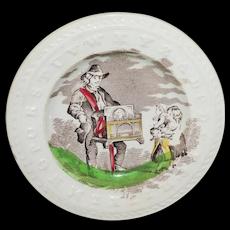 Child's ABC Alphabet Plate ORGAN GRINDER ~ STREET MUSIC Edge Malkin Staffordshire 1850