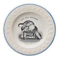 Early Childs Alphabet ABC Plate CAT & KITTENS  Staffordshire England 1850