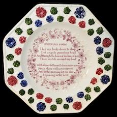 Rare Child's Spiritual Psalm Plate ~ Evening Song ~ Staffordshire c1865 Transferware