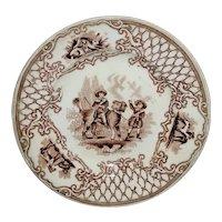 Rare Childs Transferware Toddy Plate ~ Boy Riding BIG DOG Animal Border 1850