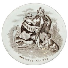 Childs Miniature Toy Plate ARTIST PAINTER EASEL DOG Staffordshire 1850 Transferware