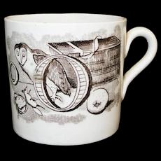 Staffordshire Childs ABC Mug OWL & Nest Alphabet Transferware 1850