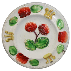 Hand Decorated Miniature Pratt Double Rose Pearlware Plate c1790