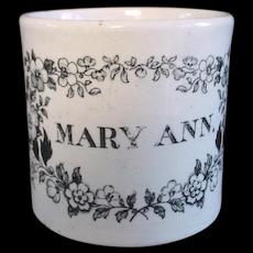 Pearlware Child's Mug Cup ~ MARY ANN