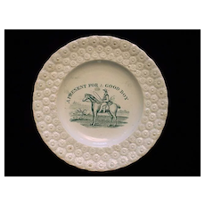 1830 Child's Daisy Plate ~ Present for a Good Boy