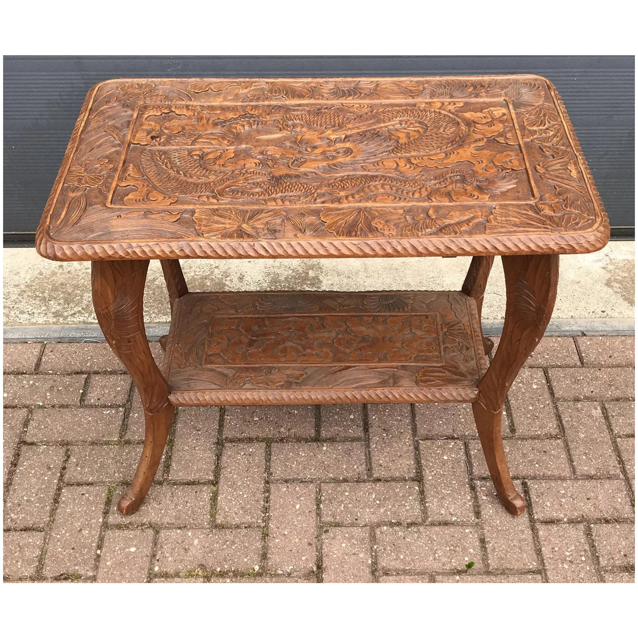 Art Nouveau Carved Wood Table With Sunflowers And Dragon Europe Antiques Collectibles And Decorations Shop Ruby Lane