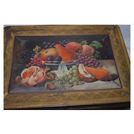 Rare Antique Biscuit Tin with Wonderful Fruit Motif!