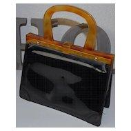 Vintage Delka France Plastic Faux Tortoise Shell Handbag