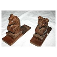A Pair Art Deco Carved Wooden Bear Bookends