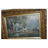 Antique Gilded Wooden Picture Frame with Antique Print from GM Brown
