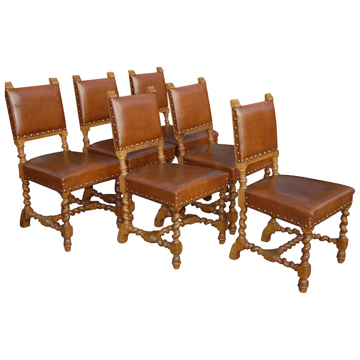 Vintage Set Of Six Carved Wood Barley Twisted Dining Chairs Leather Seats  And Back