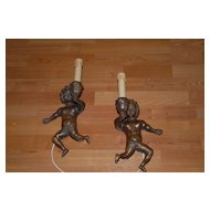 Gorgeous Antique Pair Fine Carved Wood Figural Putti Wall Sconces