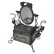 Fine Art Nouveau Beveled Glass Jewelry Display Casket Box with Mirror Stand