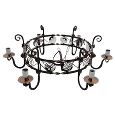 Large Antique Hand-Crafted Wrought Iron Art 6-light Round Castle Chandelier