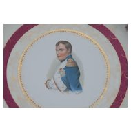 Antique Limoges Porcelain Wall Plaque / Plate with a Young Napoleon