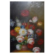 Beautiful Fine Oil Painting on Board in Frame, Flowers in a Vase