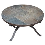 Beautiful Vintage Handmade Heavy Wrought Iron Art Round Coffee Table w. Stone Paving Top