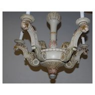 A Beautiful Antique Polychrome Carved Wood 5-light Chandelier