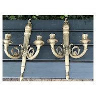 A Vintage Pair French Bronze 2-light Wall Sconces