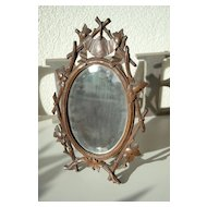 Decorative Antique Swiss Black Forest' Mirror in Carved Wood(walnut) Floral Frame