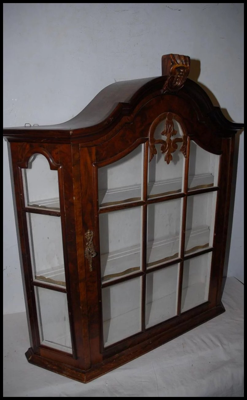 vintage quality wooden glass display vitrine wall hanging 1 door sold ruby lane. Black Bedroom Furniture Sets. Home Design Ideas