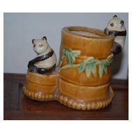 lovely Antique  Bonsai Pot with Panda Bear