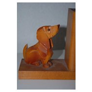 Vintage Solid Hand Carved Wood Dachshund Bookends