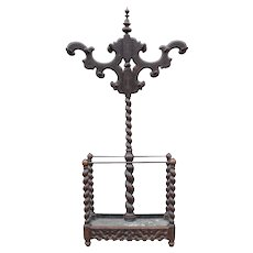 Antique  Victorian Carved Wood Barley Twist  Hall Tree Umbrella Stand