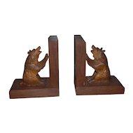 Wonderful Vintage Pair Black Forest Carved Wood Bear Bookends