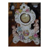 Lovely Vintage  Dresden Porcelain Floral Clock with Sweet Cherubs