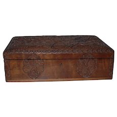 Fabolous Quality Antique Finest Carved Wood Jewelry Casket