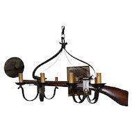 Rare Vintage Wrought Iron hunting Rifle Gun Rack Holder 8 light Chandelier