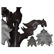 Spectacular Fine Carved Wood Gothic Art Renaissance 5-light Griffin Chandelier