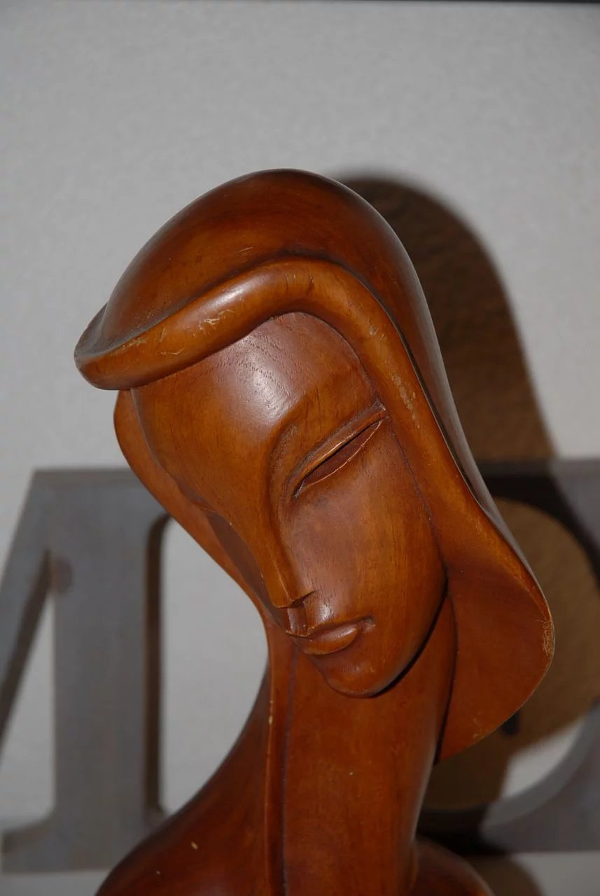 Vintage Art Deco Style Nude Lady Carved Wood Figurine Bust Statue  Europe Antiques -2441