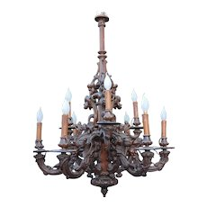 Large Victorian era Black Forest 9 light Rustic Style Pendant Light Fixture