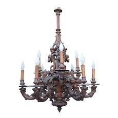 Large Victorian era Black Forest 9 light Rustic Style Pendant Light Fixture