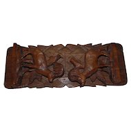 Antique Black Forest era Victorian Carved Wood Ibex Book Rack Bookends