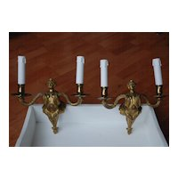 French Antique Pair Bronze Figural(Mermaid) Wall Sconces
