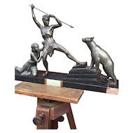 Art Deco Sculpture Group by URIANO - Women and Hero Hunter against Bear