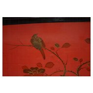 Lovely  Antique Wooden Chinoiserie Tray with Bird and Floral Lacquer Work
