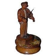 Vintage Carved Wood Black Forest Musical Figure Violinist