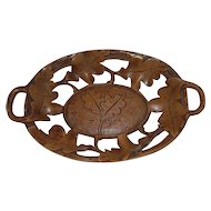 Lovely Carved Wooden Swiss Black Forest Tray with Branches and Leaves