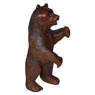 Huge Antique  Victorian era Black Forest Bear Hand Carved Pipe Holder Stand