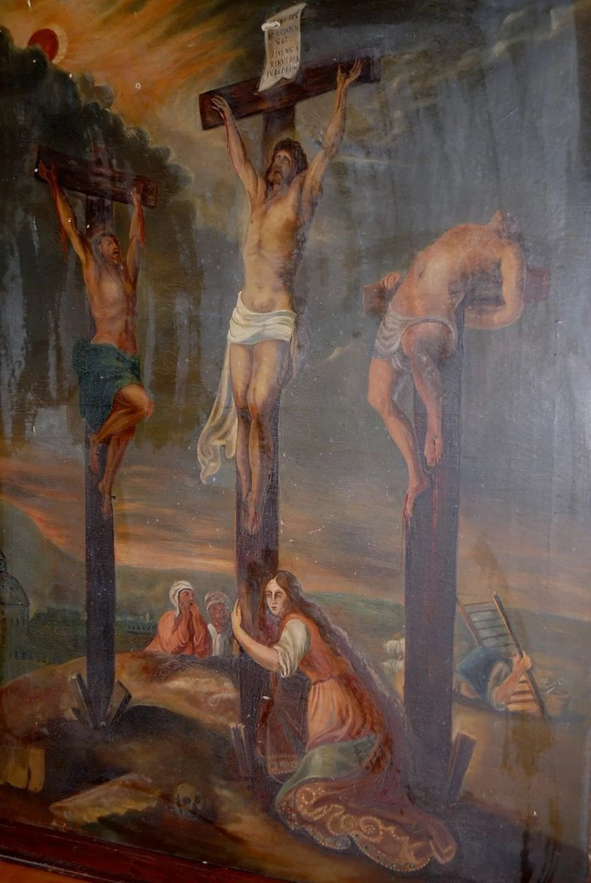 Early Antique Large 45 Quot Painting Quot The Crucifixion Quot Oil