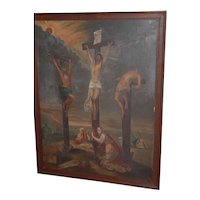 """Early Antique Large 45"""" Painting """" The Crucifixion """"  Oil on Canvas"""